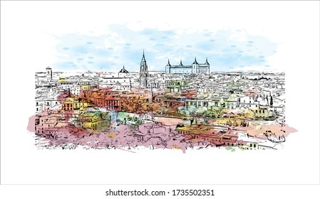 Building view with landmark of Toledo is an ancient city set on a hill above the plains of Castilla-La Mancha in central Spain. Watercolor splash with Hand drawn sketch illustration in vector.