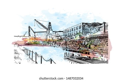 Building view with landmark of Trondheim is a city on the Trondheim Fjord, in central Norway. Watercolor splash with hand drawn sketch illustration in vector.