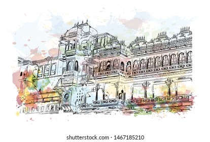 Building view with landmark of Udaipur, formerly the capital of the Mewar Kingdom, is a city in the western Indian state of Rajasthan. Watercolor splash with Hand drawn sketch illustration in vector.