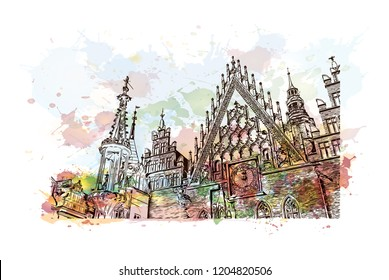 Building view with landmark of Wroclaw is a city on the Oder River in western Poland. Watercolor splash with Hand drawn sketch illustration in vector.