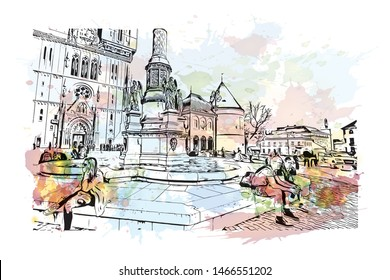 Building view with landmark of Zagreb, Croatia's northwestern capital. Watercolor splash with hand drawn sketch illustration in vector.