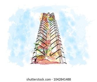 Building view with landscape art. Havana is Cuba's capital city. Watercolor splash with hand drawn sketch illustration in vector.