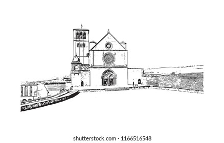 Building view and landscape wit landmark of Assisi is a hill town in central Italy's Umbria region. Hand drawn sketch illustration in vector.
