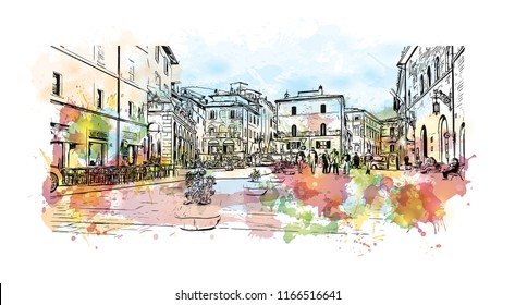 Building view and landscape wit landmark of Assisi is a hill town in central Italy's Umbria region. Watercolor splash with Hand drawn sketch illustration in vector.