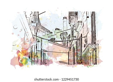 Building view with lanndmark of Trani is a seaport of Apulia, in southern Italy. Watercolor splash with Hand drawn sketch illustration in vector.