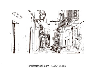 Building view with lanndmark of Trani is a seaport of Apulia, in southern Italy. Hand drawn sketch illustration in vector.