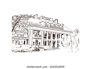 Building view at Philadelphia City in Pennsylvania, USA. Hand drawn sketch illustration in vector.