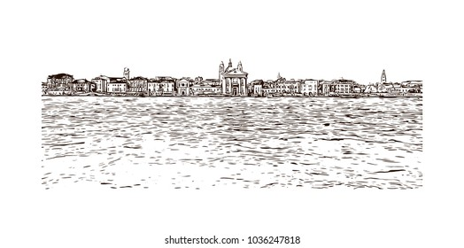 Building view with river and historic places of Venice City in Italy. Hand drawn sketch illustration in vector.