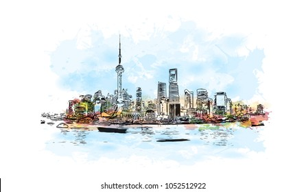 Building view of Shanghai. China's central coast, is the country's biggest city and a global financial hub. Watercolor splash with Hand drawn sketch illustration in vector.