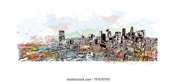 Building view and skyline of Los Angeles City in California. Watercolor splash with hand drawn sketch illustration in vector.