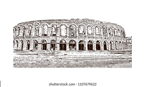 Building view of Verona is a city in northern Italy's Veneto region, with a medieval old town built between the meandering Adige River. Hand drawn sketch illustration in vector.