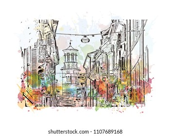 Building view of Verona is a city in northern Italy's Veneto region. Watercolor splash with hand drawn sketch illustration in vector.