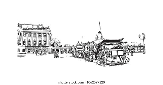 Building views with street of Vienna Capital of Austria. Hand drawn sketch illustration in vector.