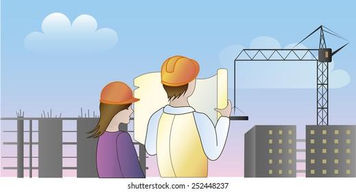Building workers industrial landscape