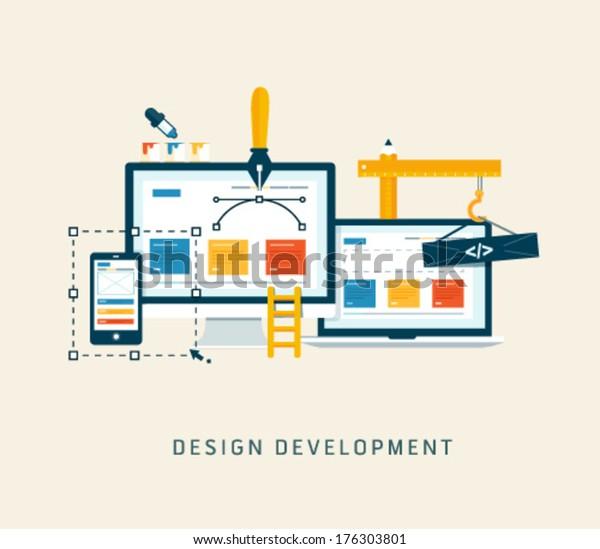 Creación/Diseño de un sitio web o aplicación. Diseño vectorial de estilo plano