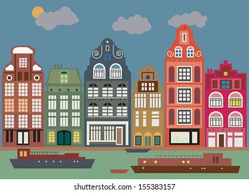 Buildings in Amsterdam, vector illustration
