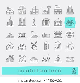 Buildings and architecture icons set. Various styles and building purposes. Buildings for living and work, monumental buildings. Vector illustration. Collection of line building and landmark icons.