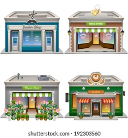 Buildings. Barber shop, Drug store, Flower shop, Bakery. Vector eps 10.