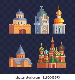 Buildings of the cathedral and church pixel art icons set.  Famous tourist attractions. St. Basil's Cathedral, Red Square. Isolated vector illustration. 8-bit sprite. Design stickers and magnets.