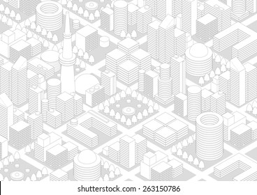 Buildings and City Landscape, line drawing illustration