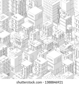 Buildings city seamless pattern. Isometric top view. Vector town city street outline with shadows. Gray lines contour style background. Highly detailed.