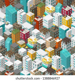 Buildings city seamless pattern. Isometric top view. Vector town city street. Multi-colored style background. Highly detailed.