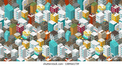 Buildings city seamless pattern. Isometric top view. Vector town city street. Multi-colored style rectangular background. Highly detailed.