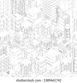 Buildings city seamless pattern. Isometric top view. Vector town city street outline. Gray lines contour style background. Highly detailed.