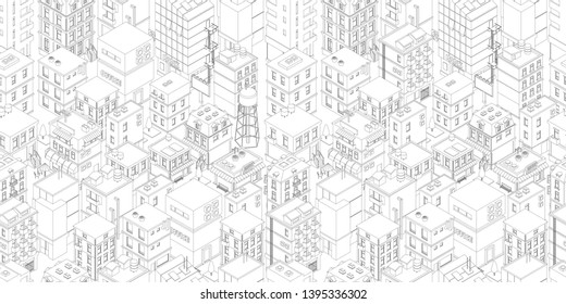 Buildings city seamless pattern. Isometric top view. Vector town city street outline. Gray lines contour style rectangular background. Highly detailed.