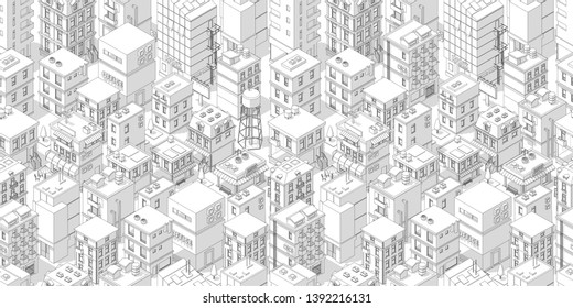 Buildings city seamless pattern. Roofs white light background. Isometric top view. Vector illustration stock. Gray lines outline contour style.