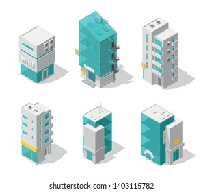 Buildings city set. Isometric top view. Separate vector town houses. Shop street cafe, offices and bank, residential buildings are different types.