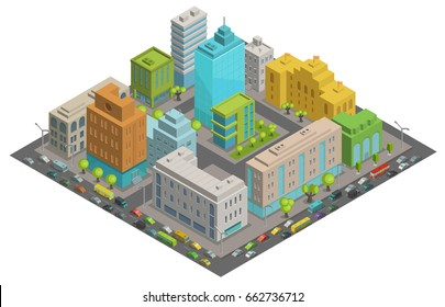 Buildings city streets quarter roads and traffic isometric 3d vector illustration City landscape, top view.