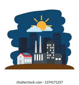 buildings cityscape scene icons