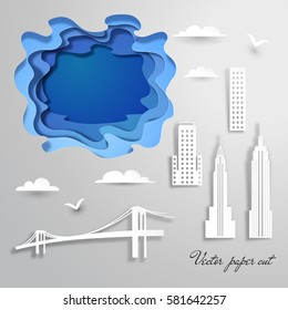 Buildings, clouds, birds of New York city in paper cut style. Vector set for design.