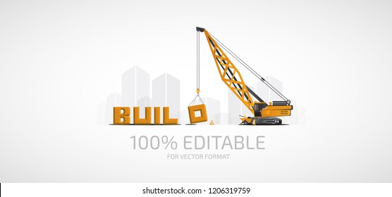Buildings and construction mobile boom crane.