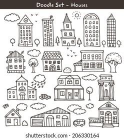 buildings doodles set