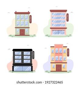 Gebäude im flachen Stil auf weißem Hintergrund. Hotel oder Gästehaus. Moderne städtische Landschaft. Grafisches Element. Vektorgrafik im Cartoon-Stil.