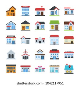 Buildings Flat Vector Icons