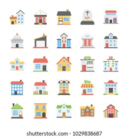 Buildings Flat Vector Icons Set