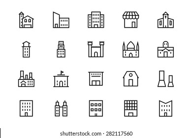 Buildings and Furniture Line Vector Icons 2