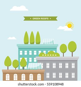 Buildings with green roof gardens and solar panels vector illustration