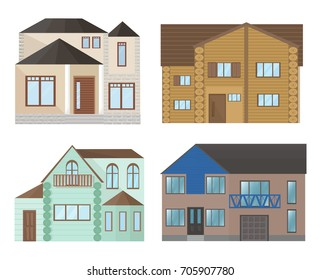 Buildings houses facade architecture. Modern flat style vector illustrations