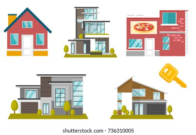 Buildings and houses illustrations set. Collection of colorful modern buildings including detached residential houses, cottages, cafe. Vector cartoon illustrations isolated on white background.