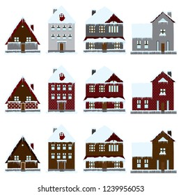 Buildings and houses in snow, winter icon set. Vector.