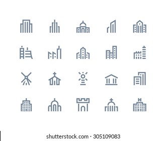 Buildings icons. Line series