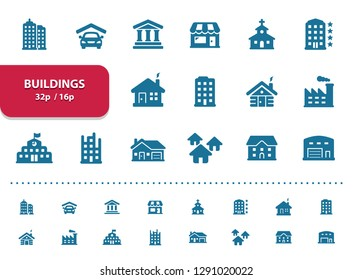 Buildings Icons. Professional, pixel perfect icons, EPS 10 format, optimized for 32p and 16p (2x magnification for preview).