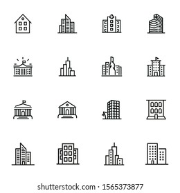 Buildings icons. Set of line icons on white background. Hospital, town house, museum, hotel. City concept. Vector illustration can be used for topics like urban life, architecture, construction
