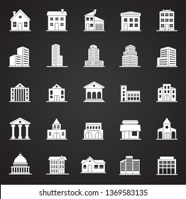 Buildings icons set on black background for graphic and web design. Simple vector sign. Internet concept symbol for website button or mobile app