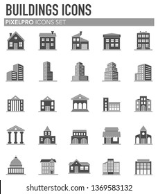 Buildings icons set on white background for graphic and web design. Simple vector sign. Internet concept symbol for website button or mobile app