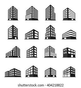 Buildings icons set. vector illustration